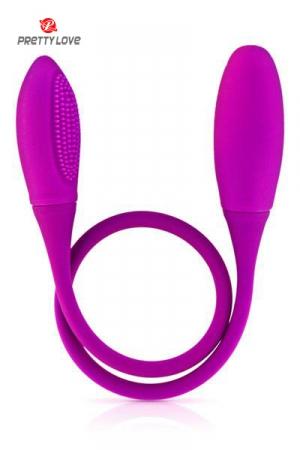 Vibromasseur Double Sodomie Snaky Vibe - Comme un double dong mais vibrant, ce vibromasseur Snaky Vibe est parfait pour une double sodomie ou des jeux de couple. Ses deux extrémités, l'une lisse, l'autre équipée de picots et sa tige flexible rendent tous les jeux possibles.