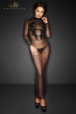 Robe Longue Transparente en Tulle Noir Handmade Forbidden - Fabriquée dans un tulle transparent et léger, cette robe noire longue est dessinée par Noir Handmade. Elle possède des motifs floraux de sequins et de perles dans le dos et sur le buste. Disponible du S au 3XL.