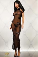 Robe Longue en Résille pour Travesti Bedroom Diva - Faites votre diva dans cette robe longue en résille transparente pour travesti. Ses petits noeuds en satin la rendent très féminine. String assorti offert