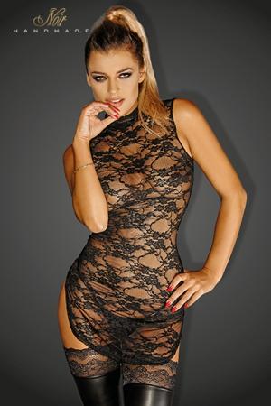 Mini Robe Transparente en Dentelle pour Travesti - Mini robe tunique à col montant pour travesti. Fabriquée en dentelle transparente, elle est fendue sur les côtés et est très moulante. Elle couvre votre cou et vos épaules mais dévoile votre corps. Existe du S au 3 XL