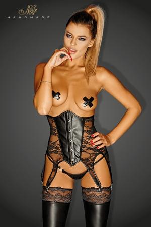 Serre Taille Travesti avec Six Jarretelles - Serre-taille six jarretelles pour travesti, usiné en dentelle et faux cuir, renforcé par des tiges de renfort. Disponible en grande taille jusqu'au 3XL