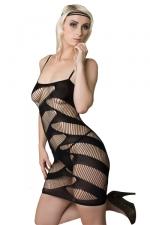 Robe Moulante et Ajourée pour Travestie J&M n°4 - Cette robe courte, moulante et ajourée vous transforme en travestie très chaude aux yeux des mecs. Cette robe exhibe vos fesses, votre poitrine. Extensible, elle est très confortable pour une sissy sure d'elle même.