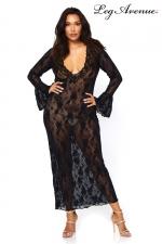 Robe Longue Grande Taille pour Sissy - Robe longue dentelle grande taille pour sissy. Vous êtes grandes ou vous avez de belles formes, cette magnifique robe longue et confortable couvre vos bras, vos épaules. Son tissu transparent est très coquin.