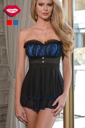 Robe Nuisette en Tulle et Dentelle Coquette Joséphine - Disponible jusqu'au XXXXL ou taille 48 cette robe nuisette est fabriquée à base de dentelle et de tulle. Elle est très féminine et coquine et s'adapte aussi bien aux femmes rondes qu'aux travestis.